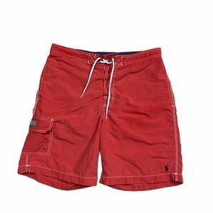 90's Red Polo Ralph Lauren Swim Shorts